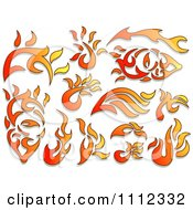 Clipart Flame Design Elements Forming Shapes 1 Royalty Free Vector Illustration