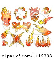 Clipart Flame Design Elements Forming Shapes 5 Royalty Free Vector Illustration by BNP Design Studio