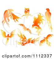 Flame Design Elements Forming Birds 1