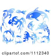 Clipart Water Or Blue Flame Design Elements Forming Sea Creatures 1 Royalty Free Vector Illustration by BNP Design Studio