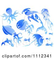 Clipart Water Or Blue Flame Design Elements Forming Sea Creatures 1 Royalty Free Vector Illustration