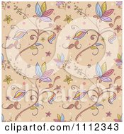 Clipart Seamless Floral Pattern Background On Tan Royalty Free Vector Illustration