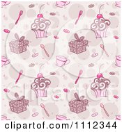 Clipart Seamless Pink Cake Gift And Tea Background Pattern Royalty Free Vector Illustration
