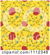 Clipart Seamless Red Rose Floral Pattern Background On Yellow Royalty Free Vector Illustration