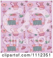 Seamless Purple Tea Party Background Pattern