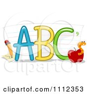 Clipart ABC Letters With Paper A Pencil And Worm In An Apple Royalty Free Vector Illustration