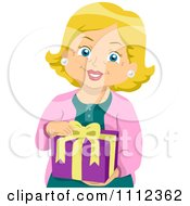 Clipart Blond Senior Woman Holding A Gift Royalty Free Vector Illustration