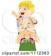 Clipart Happy Grandfather Carrying His Grandson On His Shoulders Royalty Free Vector Illustration