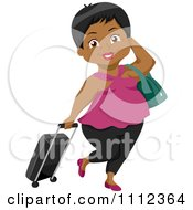 Clipart Black Senior Woman Traveler With Rolling Luggage Royalty Free Vector Illustration