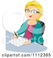 Clipart Blond Senior Woman Writing At A Desk Royalty Free Vector Illustration