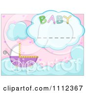 Clipart Baby Pram With A Cloud Frame Royalty Free Vector Illustration