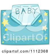 Clipart Baby Diaper With Text Over Blue With Stars And Copyspace Royalty Free Vector Illustration by BNP Design Studio