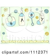Clipart Baby Text On Suspended Items With Buttons On Green Royalty Free Vector Illustration by BNP Design Studio