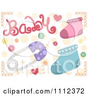 Clipart Baby Text With Socks And A Pin Royalty Free Vector Illustration