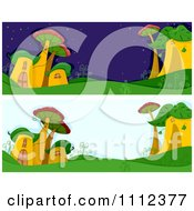 Clipart Website Blog Headers Of Whimsical Msuhroom Houses Royalty Free Vector Illustration