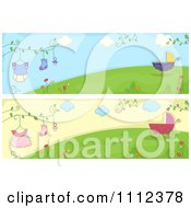 Clipart Website Headers Of Baby Strollers And Clothing On A Hill Royalty Free Vector Illustration