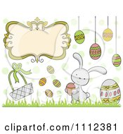 Clipart Frame Bunny And Egg Easter Design Elements Royalty Free Vector Illustration by BNP Design Studio