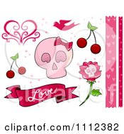 Clipart Pink Feminine Skull And Love Border And Design Elements Royalty Free Vector Illustration