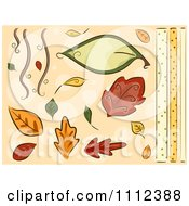 Clipart Autumn Leaves And Border Design Elements Royalty Free Vector Illustration