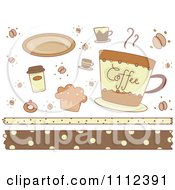 Clipart Coffee Cups Snacks And Borders Royalty Free Vector Illustration