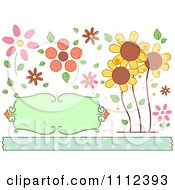 Clipart Sunflowers And Floral Design Elements With A Border Royalty Free Vector Illustration