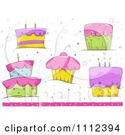 Clipart Birthday Cakes And Cupcakes With A Pink Bottom Border Royalty Free Vector Illustration