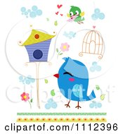 Clipart Bluebird Cage Flowers House And Bird With A Love Letter Royalty Free Vector Illustration