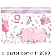 Clipart Borders A Pink Frame And Feminine Beauty Items Royalty Free Vector Illustration