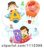 Clipart Happy Kids With Airplanes A Hot Air Balloon Letters And Numbers Royalty Free Vector Illustration by BNP Design Studio