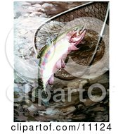 Clipart Illustration Of A Golden Trout In A Fishing Net by JVPD #COLLC11124-0002