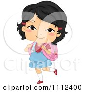 Clipart Cute Happy Asian School Girl Carrying A Backpack Royalty Free Vector Illustration