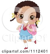 Clipart Cute Happy African American School Girl Carrying A Book Bag Royalty Free Vector Illustration by BNP Design Studio