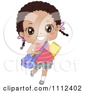 Cute Happy African American School Girl Carrying A Book And Bag