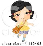 Cute Happy Asian School Girl Carrying A Bag