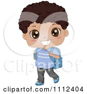 Clipart Cute Happy Black School Boy Carrying A Backpack Royalty Free Vector Illustration