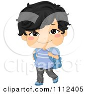 Clipart Cute Happy Asian School Boy Carrying A Backpack Royalty Free Vector Illustration