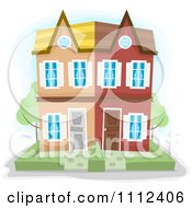 Clipart Townhouse Duplex Building Royalty Free Vector Illustration