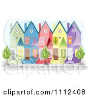 Clipart Colorful Townhouse Buildings Royalty Free Vector Illustration