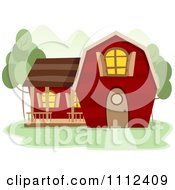 Clipart Red Coutnry Barn House Royalty Free Vector Illustration