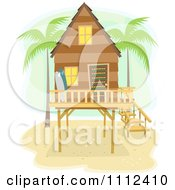 Clipart Beach House On Stilts With Palm Trees And Surf Boards Royalty Free Vector Illustration