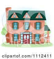Clipart Three Story Brick House Royalty Free Vector Illustration