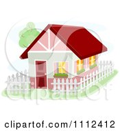 Clipart Bunbalow House With A White Picket Fence Royalty Free Vector Illustration