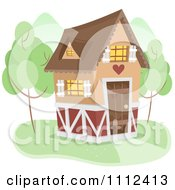 Clipart Cute Cottage With Trees Royalty Free Vector Illustration