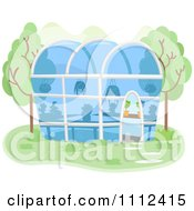 Clipart Glass Green House With Plants Inside Royalty Free Vector Illustration