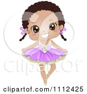 Cute Happy African American Girl In A Ballet Tutu