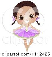 Cute Happy African American Girl In A Ballet Tutu