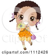 Clipart Cute Happy African American Girl Using A Camera Royalty Free Vector Illustration by BNP Design Studio