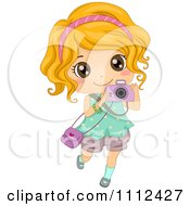 Clipart Cute Happy Blond Girl Taking Pictures With A Camera Royalty Free Vector Illustration by BNP Design Studio