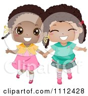 Clipart Two Cute Happy Black Girls Holding Hands Royalty Free Vector Illustration