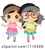 Clipart Two Cute Happy Asian Girls Holding Hands Royalty Free Vector Illustration